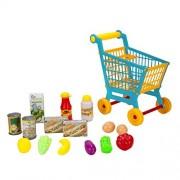 Wonderful Gift Shop Unisex Kids Children Shopping Cart and Pretend Play Food Assortment Set - Blue