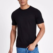 River Island Mens Black slim fit crew neck T-shirt (S)