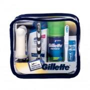 Gillette Mach3 Travel Kit darčeková kazeta pre mužov holiaci strojček s jednou hlavicou 1 ks + pena na holenie 75 ml + balzam po holení 75 ml + šampón 90 ml + zubná pasta 15 ml + zubná kefka 1 ks