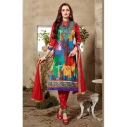 Swaron Red And Blue Cotton Embroidered Salwar Suit Dress Material (Unstitched)