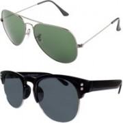 Forty Hands Aviator, Wayfarer Sunglasses(Green, Black)