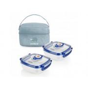 MINILAND Termoizolačné púzdro + 2 hermetické misky na jedlo Blue