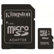 Card microSDHC 16GB KINGSTON, Class 4, Adaptor SD