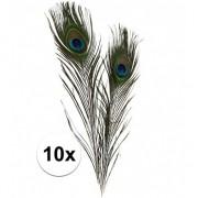 Merkloos 10x Decoratie pauwenveren