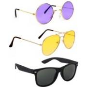 Elligator Round, Aviator, Wayfarer Sunglasses(Violet, Yellow, Black)