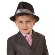 Jongens Hoed glimmend zwart met grijze band-56cm