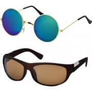 Freny Exim Aviator, Round Sunglasses(Multicolor, Green)