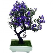 Artificial Plant With Pot - Y Shaped Bonsai with Green Leaves and Purple Flowers by Random