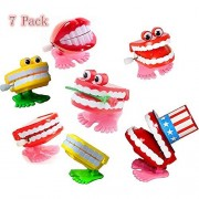 Minibaby Fun Toy Assorted Set of 7 Chattering Wind Up Teeth for Kids