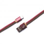 PlusUs LifeStar Handcrafted Lightning Cable - ръчно изработен сертифициран Lightning кабел за iPhone, iPad и iPod (25см.) (червен-жълт)
