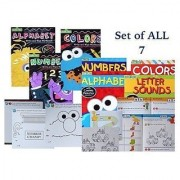 Sesame Street - Set of 7 - Preschool Activity Workbook- Activity Work Books Learn; Colors Numbers Alphabet Letters & Sounds & Coloring Books. Pre-k Toddlers color paint write circle trace count.