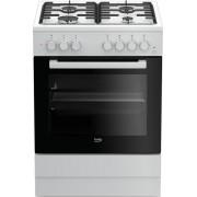 Aragaz Beko FSST62110DW, alimentare mixta, 60 cm, 4 arzatoare, aprindere electrica, grill, timer, alb