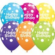 "Baloane latex 11"" inscriptionate Birthday Big Polka Dots Asortate, Qualatex 13846"