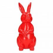 Stoobz design Dierenbeeld haas / konijn rood 30 cm