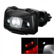 El poder mas elevado 4-Modo 3-LED bicicleta luz trasera / faro blanco + rojo - Negro