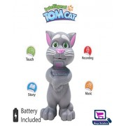 Moga | Grey Intelligent Talking Tom cat with Song, Story Telling, Music & Touch Functionality for Kids | Touching Tom cat 3AA Battery Operated Toy | Color Grey | Intelligent Tom cat