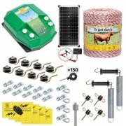 Pachet gard electric complet 1000 m, 4,5 Joule, cu sistem solar, pentru animale domestice