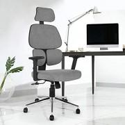 FurnitureR Silla de Oficina ergonómica Sillas de Malla con Respaldo Alto con Soporte Lumbar, reposacabezas Ajustable y reposabrazos 2D Gris