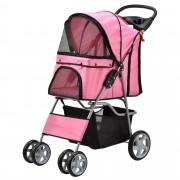 [pro.tec]® Négylábú kisállat szállító kocsi - kutyakocsi - cicakocsi pink