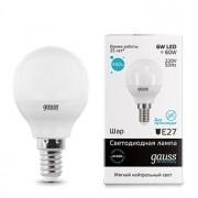 Лампа светодиодная Gauss LED Elementary Globe 6W E14 4100K(53126)