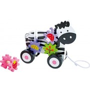 Legler Pull-Along Zebra Gear-Wheel Preschool Push and Pull Toy