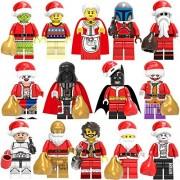 Moobe 14Pcs Senta Claus Minifigure Christmas Figures Santa with Toy Sack Collectible for Children Lego-Compatible (14Pcs Senta)