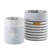 Maisons du Monde 2 cestini portatutto in cotone blu e bianco