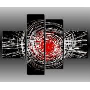 4 Quadri Moderni Esplosione Toni del Nero e Rosso