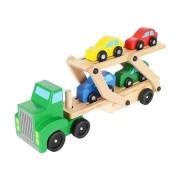 Set camion de transport cu platforma, 4 Masinute, din lemn (TIP PRODUS: Seturi de constructie)