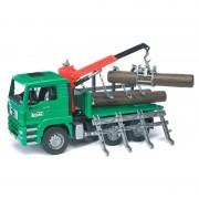 Bruder MAN TGA camion pentru transportat lemne cu macara si 3 busteni