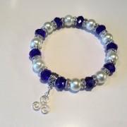 Celtic Triskelion Bracelet Pearl Crystal Charm Stretch