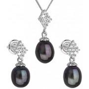 Evolution Group Luxusní stříbrná souprava s pravými tahiti perlami Pavona 29018.3 (náušnice, řetízek, přívěsek)