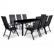vidaXL Set mobilier de exterior, 9 piese, aluminiu, negru