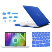 ENKAY 4 in 1 Frosted Hard Shell Plastic Protective Case with Screen Protector & Keyboard Guard & Anti-dust Plugs for MacBook Pro 15.4inch(Dark Blue)
