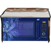 Glassiano Leaves Printed Microwave Oven Cover for IFB 23 Litre Convection (23BC4 Black+Floral Design)