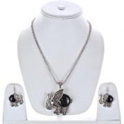 Lucky Jewellery Designer Oxidised German Silver Plated Black Color Elephant Design Navratri Garba Jewelry Pendant Locket Set With Matching Earring Girls & Women (175-CHL1O-LJ633-BL-S)