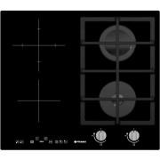 Plita Mixta 2+2 Gaz & Vitroceramica,58x51cm, timer, touch control, aprindere automata, gratare fonta, sticla neagra Pyramis 030059901