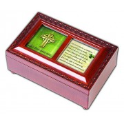 May God Give You Celtic Cross Petite Woodgrain Music Musical Jewelry Box Plays Amazing Grace by Cottage Garden