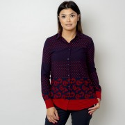 Női piros sötét kék ing Willsoor pöttyös 10768