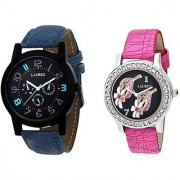 Laurex Analog Leather Watches for Lovely Couple Combo-LX-065-LX-127