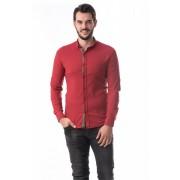 Camasa barbati slimfit bumbac elastic culoare rosu CMB50 XL