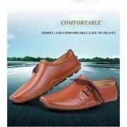 Casual Color Sólido Encaje Hasta Los Hombres Conducir Zapatos Planos De Cuero-Marrón-44
