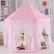Princess Castle Cute Large Hexagon Princess Castle Kids Play Tent Girls Playhouse --For Indoor OutDoor Game - Perfect Birthday Gift for Boys&Girls (Pink)