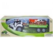 Tractor cu remorca si 2 animale