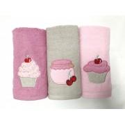Set de 3 prosoape bucătărie Valentini Bianco Cake Roz