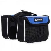 Yanho Oxford Cloth + bolsa de nylon de nylon de la tapa de la bici - negro + azul (1.5L)