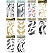 HIGHSONG 5X Feather Feathers Birds Eye Gold Temporary Tattoos Fancy Dress Tattoo Halloween Body Art Makeup