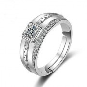 Limited Edition Sterling Silver Cubic Zirconia Solitaire Adjustable Mens Rings DC- 121
