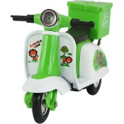 DealBindaas Pizza Delivery Scooter Motorcycle Dinky Pull Back No Remote No Battery Scaled Model-Multicolour