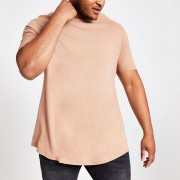 River Island Mens Big and Tall Brown curve hem T-shirt (XXXL)